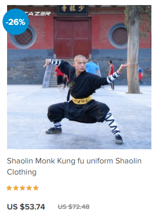 Shaolin monks uniform